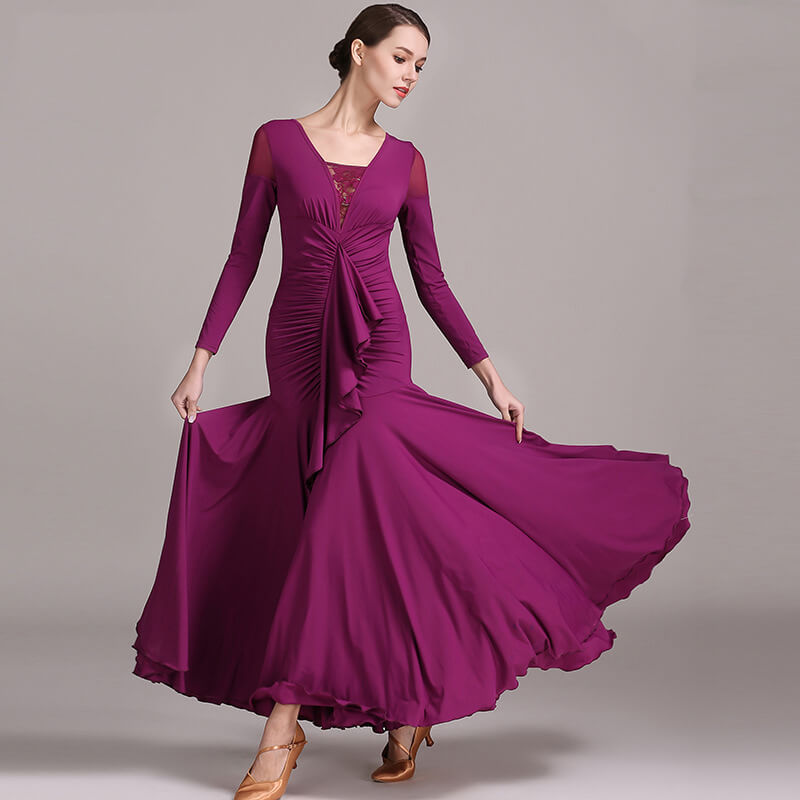 purplish red ballroom dance dress