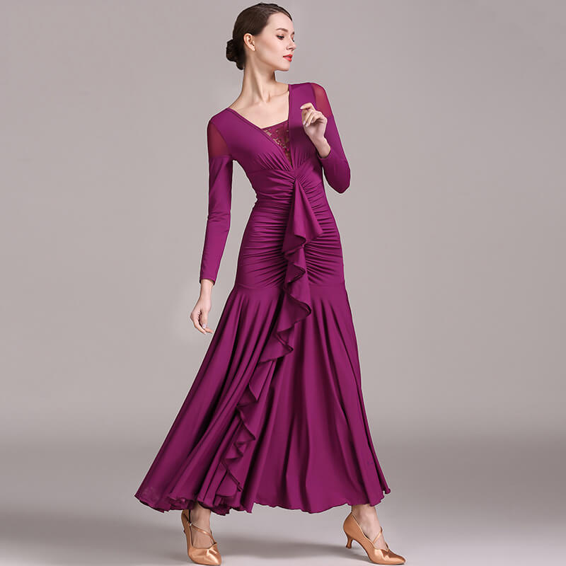 purplish red ballroom dance dresses