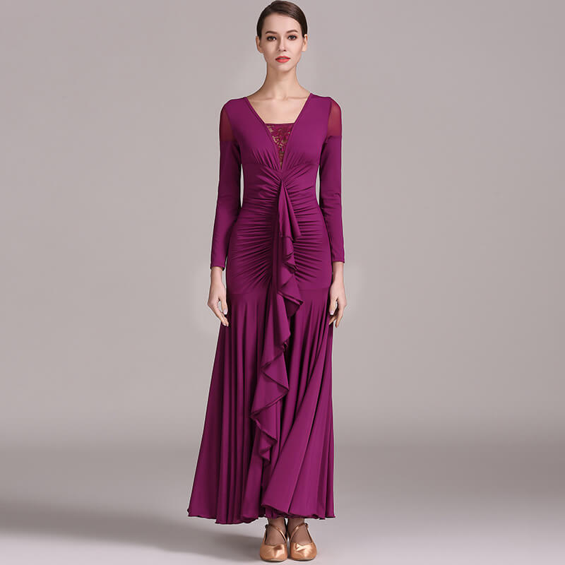 purplish red ballroom dress