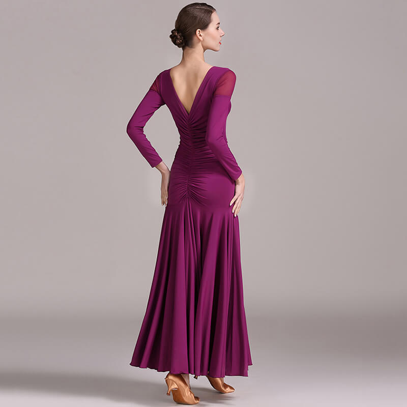 purplished red ballroom dress