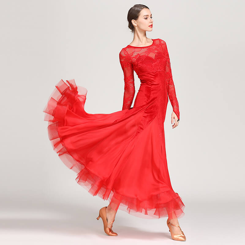 red ballroom dance dress 1