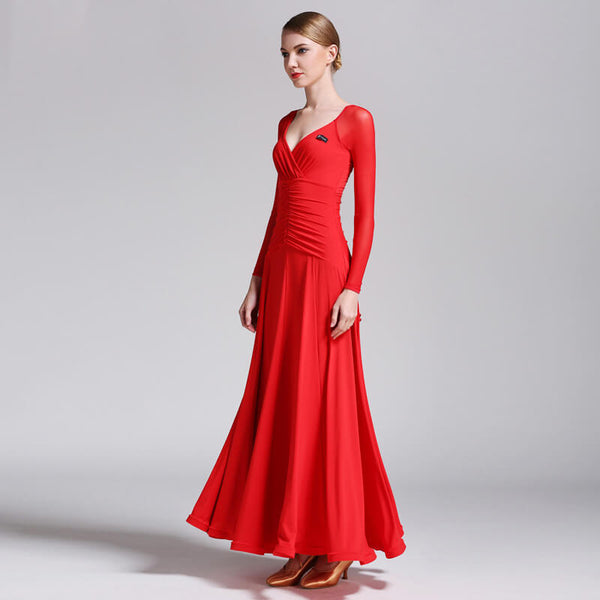 red ballroom dance dress