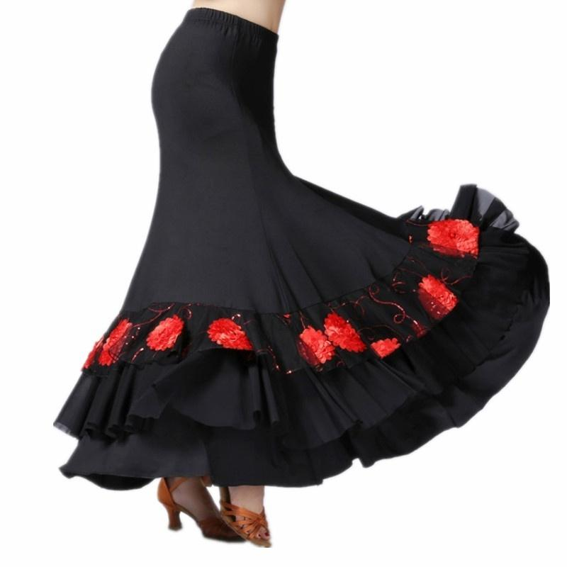 red ballroom dance skirt