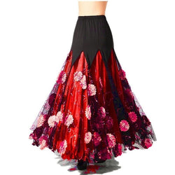 red ballroom skirt