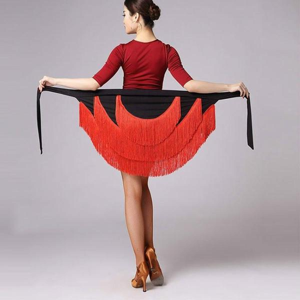 black red latin skirt