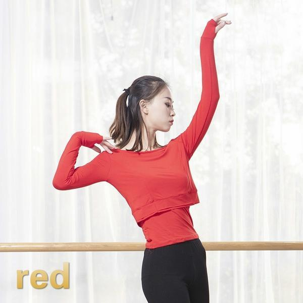 red contemporary dance tops