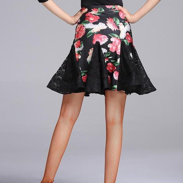 pink floral latin dance skirt