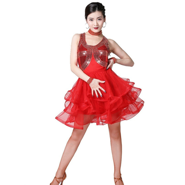 Short Latin Dress with Sequins-Red