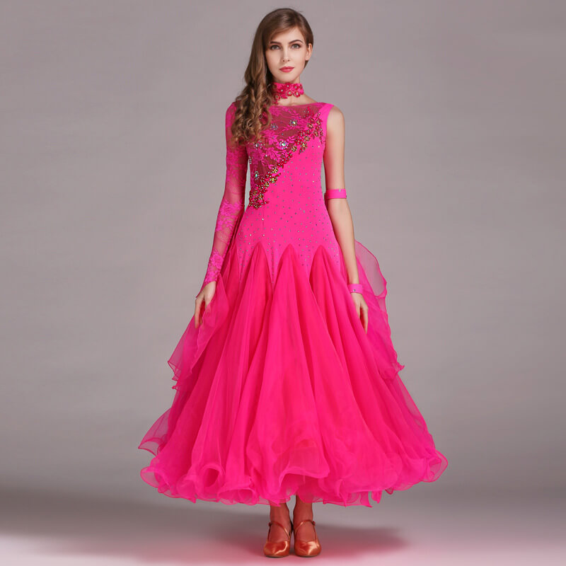 rose red ballroom dress