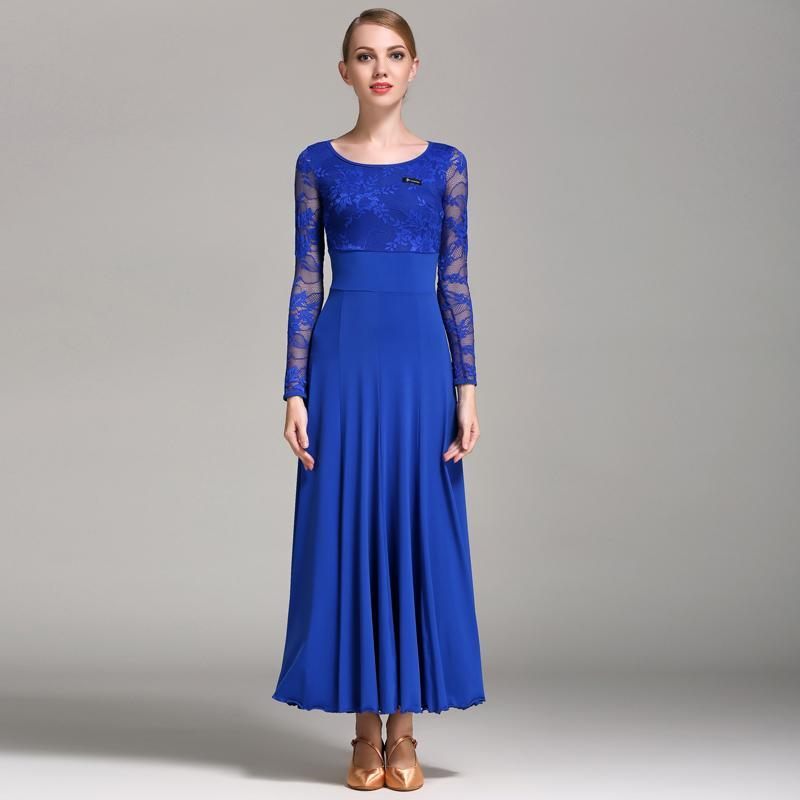 Empire Long Ballroom Dress with Lace-Sapphire Blue