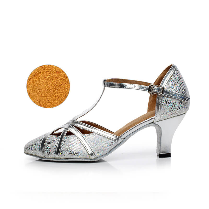 Gail silver and hologram closed toe ladies ballroom dance shoes 2.2 inch heel