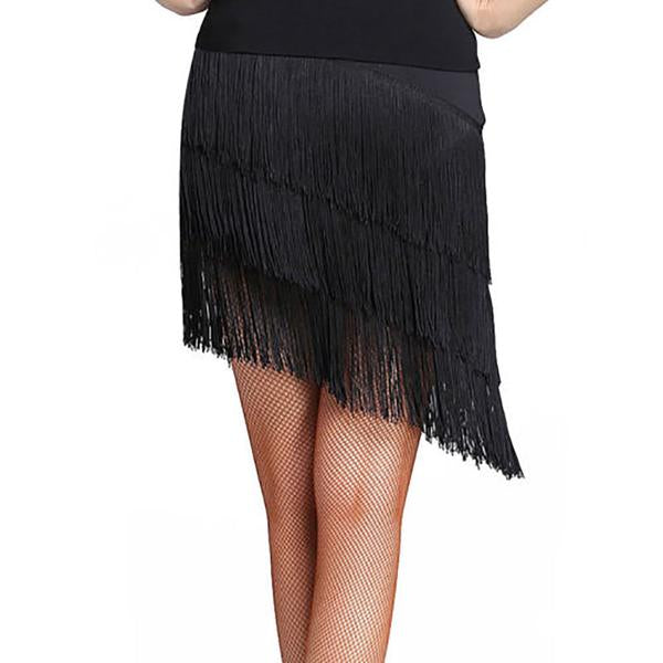 tassel latin dance skirt-black-4
