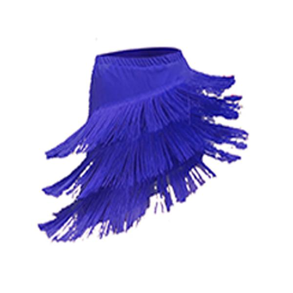 tassel latin dance skirt-blue