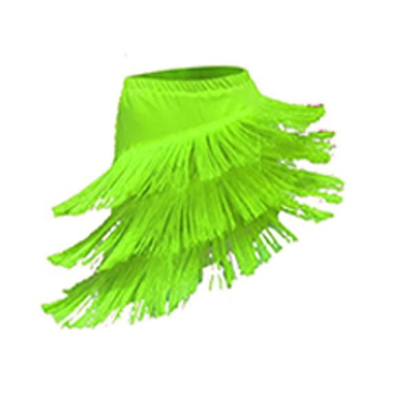 tassel latin dance skirt-green