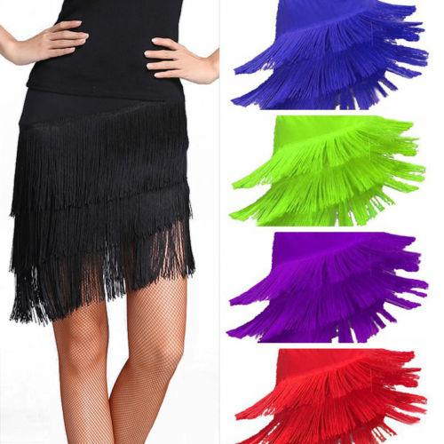 tassel latin dance skirt-multi