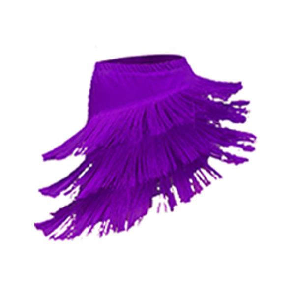 tassel latin dance skirt-purple