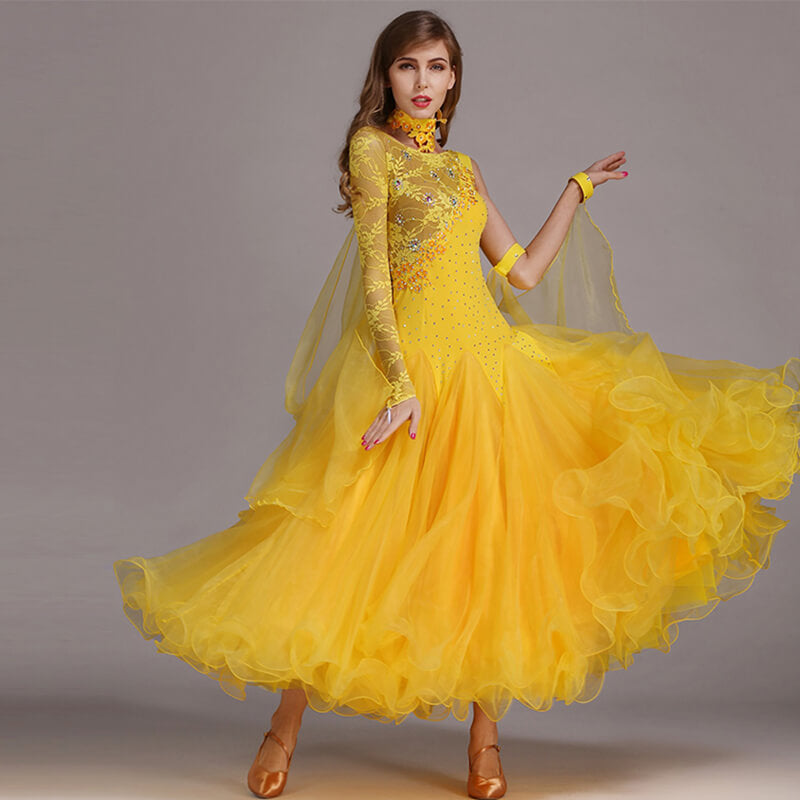 yellow ballroom dance dress
