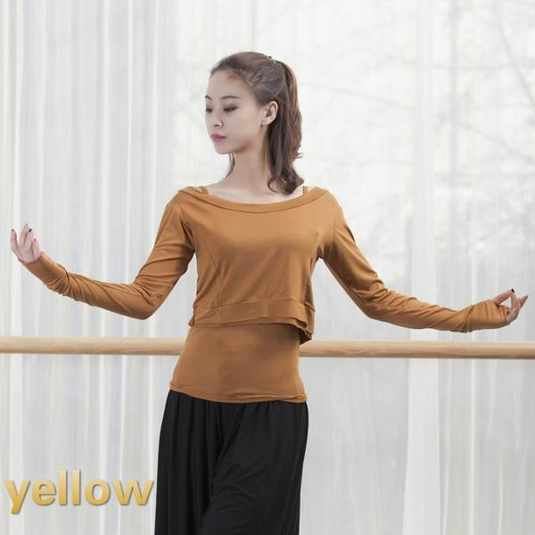 yellow contemporary dance tops