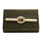 Load image into Gallery viewer, Silver Stock Pin with Amethyst Colour Centre with diamontee crystal surround stock pin