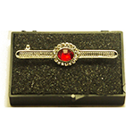 Silver Stock Pin with Ruby Red Colour Centre with diamontee crystal surround stock pin