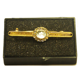 Gold Plated Stock Pin with Clear Moonstone Colour Centre  surrounded with diamontee crystals