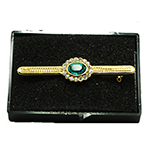 Load image into Gallery viewer, Gold Plated Stock Pin with Blue Saphire surrounded with diamontee crystals