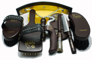Premium Mahogany wood Horse Grooming set with crystals by Karoo Equine