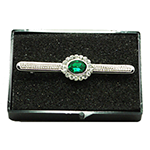 Silver Stock Pin with Light Emerald Centre with diamontee crystal surround stock pin