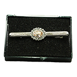 Load image into Gallery viewer, Silver Stock Pin with Kunzite Rose Centre with diamontee crystal surround stock pin
