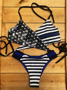 """Cop Car"" Blue Line Swimsuit"