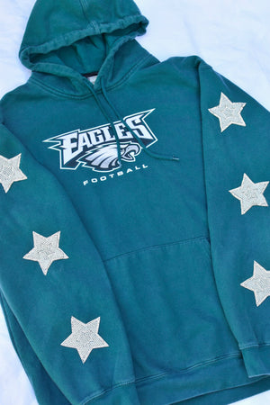 Upcycled Eagles Star Rhinestone Pearl Sweatshirt