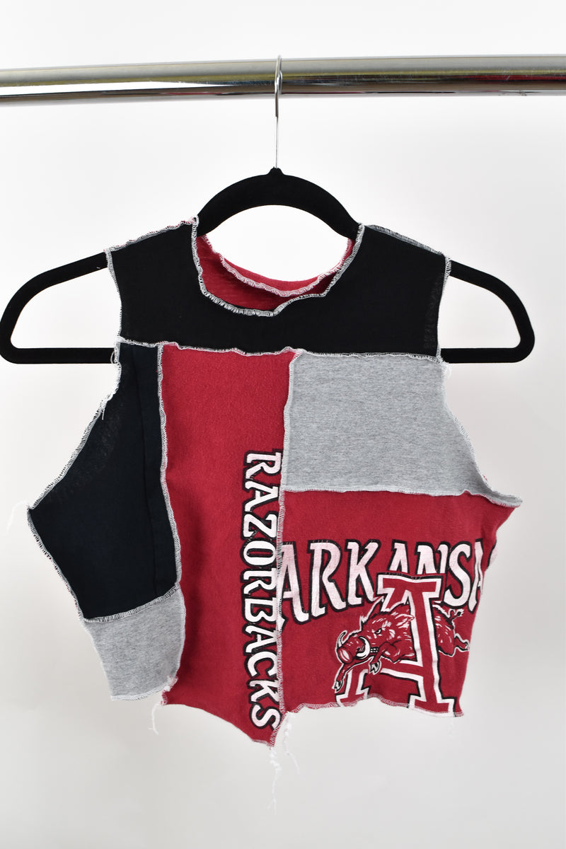 Upcycled University of Arkansas Scrappy Top