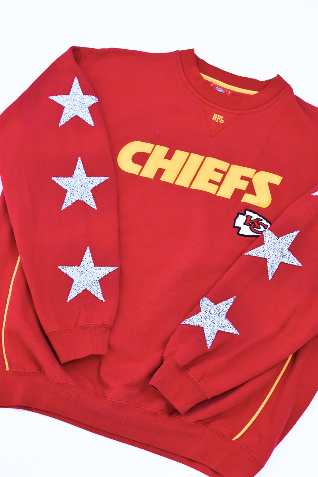Upcycled VINTAGE Kansas City Chiefs Star Rhinestone Sweatshirt
