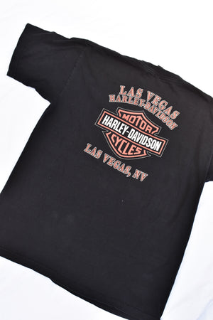 Upcycled Harley Davidson Distressed Safety Pin Shirt