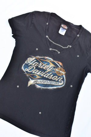 Upcycled Harley Davidson Grommet & Chain Shirt