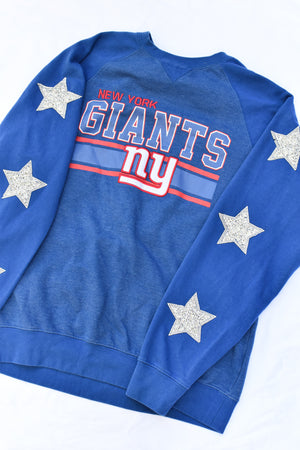 Upcycled New York Giants Star Rhinestone Sweatshirt
