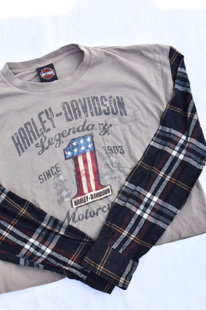 Upcycled Harley Davidson Cropped Flannel Sleeve Shirt