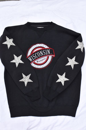 Upcycled VINTAGE Wisconsin Badgers Star Rhinestone Sweatshirt