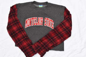 Upcycled Montclair State Flannel Sleeve Sweatshirt