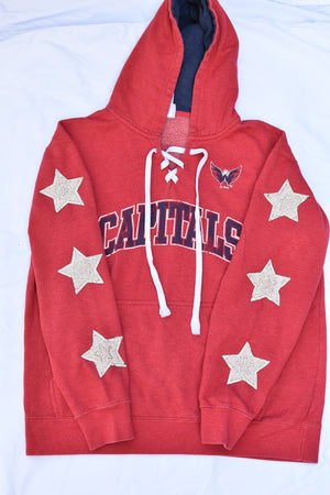 Upcycled Capitals Star Rhinestone Sweatshirt