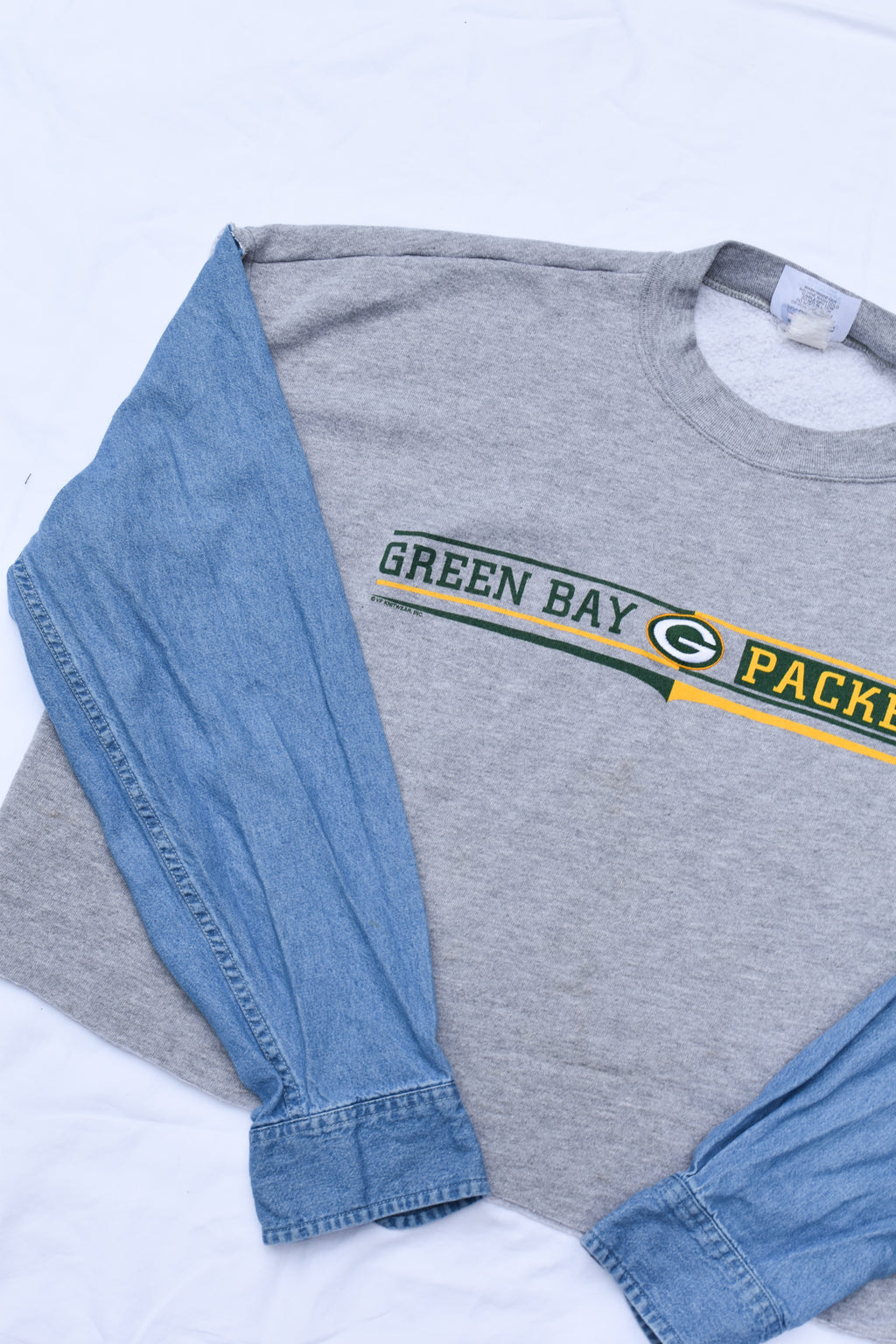 Upcycled VINTAGE Packers Denim Sleeve Sweatshirt