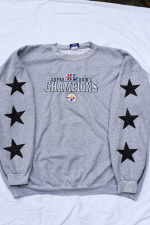 Upcycled Steelers Star Rhinestone Sweatshirt