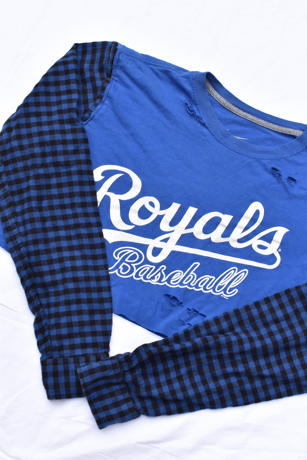Upcycled Royals Distressed Flannel Sleeve Shirt