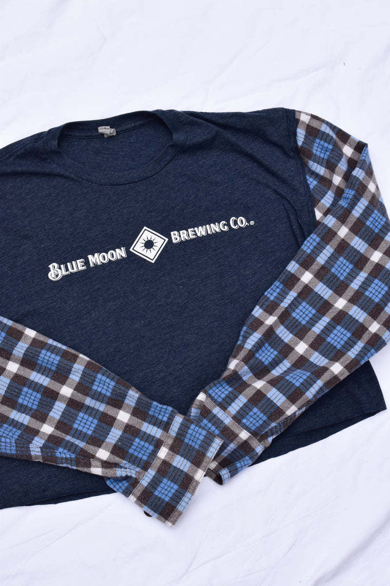 Upcycled Blue Moon Cropped Flannel Sleeve Shirt