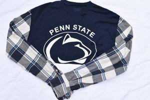 Upcycled Penn State Distressed Flannel Sleeve Shirt