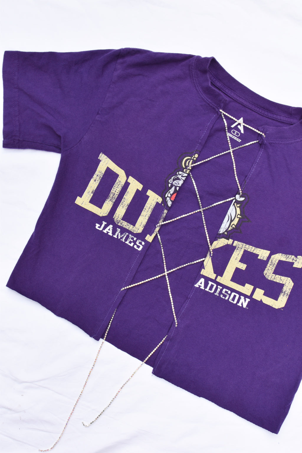 Upcycled James Madison Rhinestone Chain Shirt