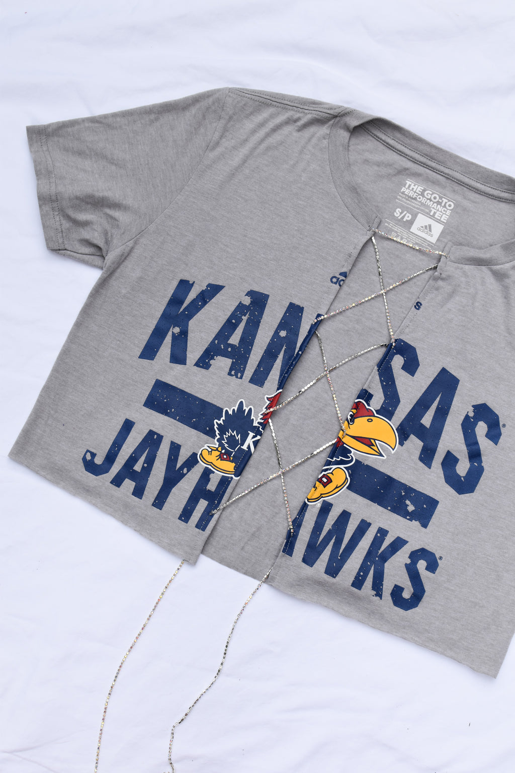 Upcycled Kansas Jayhawks Rhinestone Chain Shirt