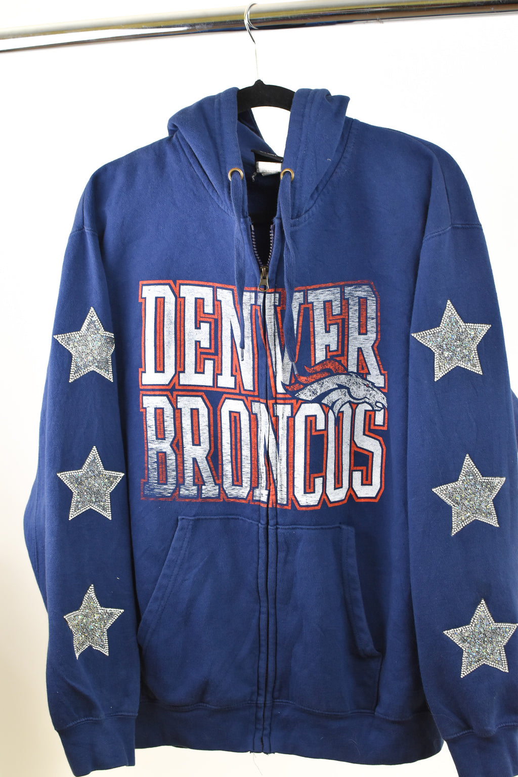 Upcycled Denver Broncos Star Rhinestone Sweatshirt