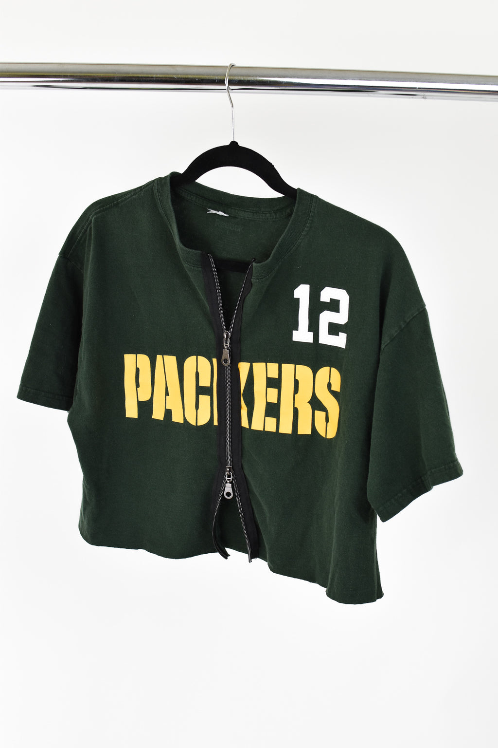Upcycled Green Bay Packers Double Zipper Shirt
