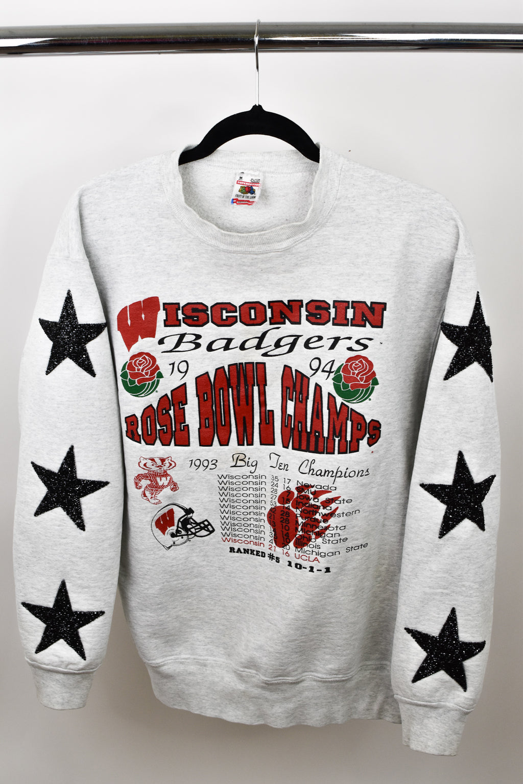 Upcycled VINTAGE University of Wisconsin Star Rhinestone Sweatshirt